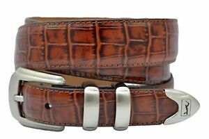 PGA-Tour-Men-039-s-Brown-Alligator-Print-Leather-Belt-w-Swinging-Golfer-SZ-32-44