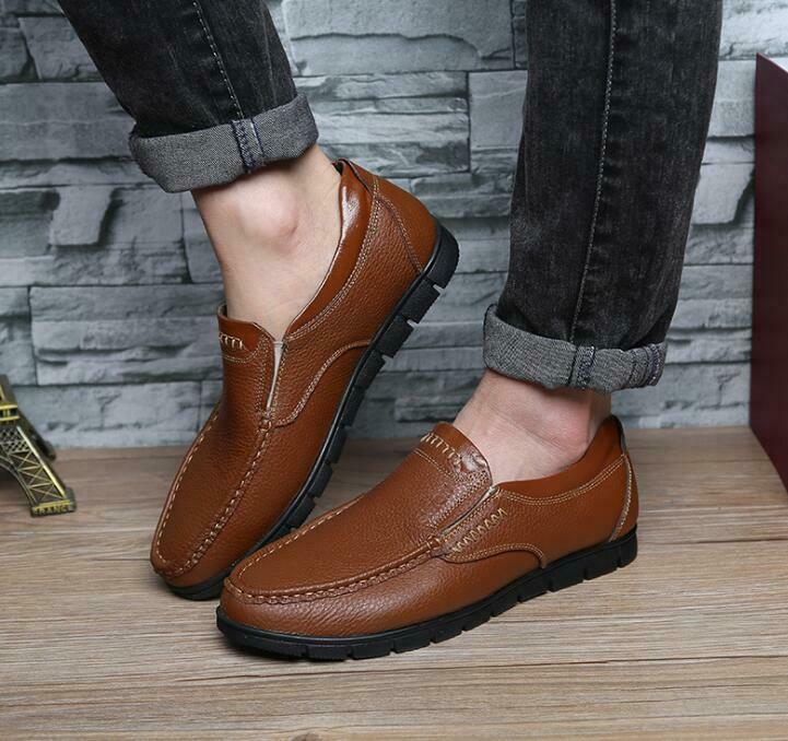 Pull On Leather Solid color Leather Men Moccasins Low-top shoes Casual Loafers