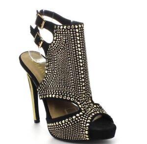 b2d27db3cc4f Liliana VANITY-44 Black Gold Studded Peep Toe Party Fashion Heels ...