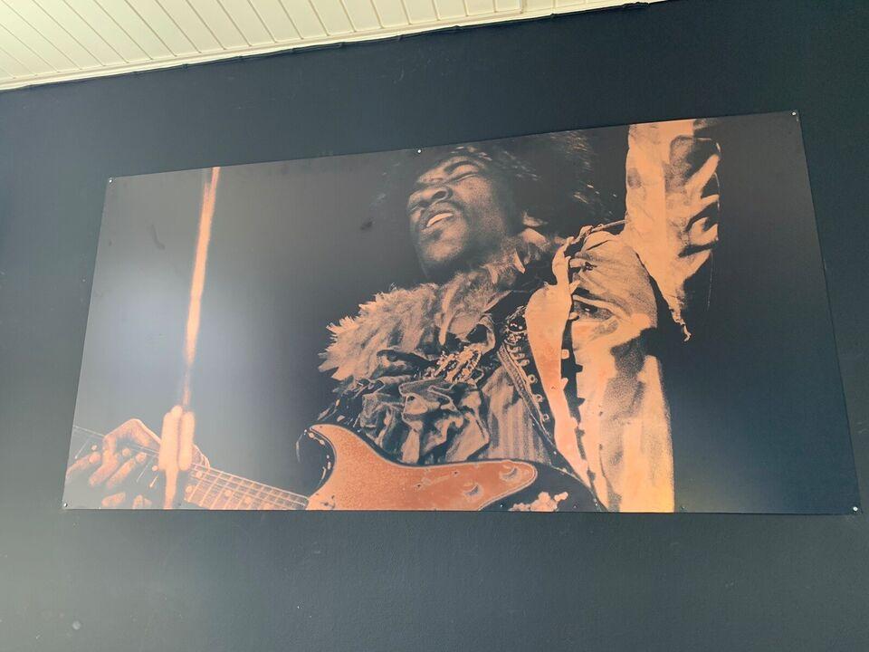 Kobber plade, motiv: Jimmy Hendrix, b: 200 h: 100