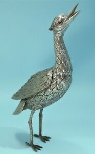 German-800-Silver-Repousse-Bird-Figure-of-a-Stork-with-Garnet-Eyes