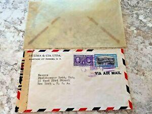 Vintage-Postage-Envelope-1943-Panama-to-New-York-City-Rare-Marks-Stamps