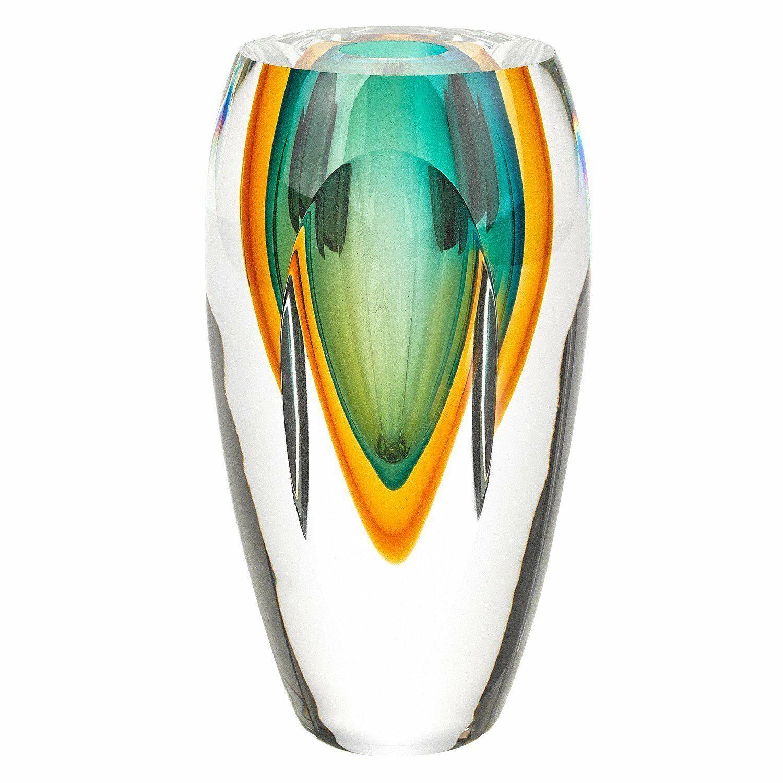 (D) Handcrafted 'Astra' Murano Art Glass Grün Decorative Oval Flower Vase 6