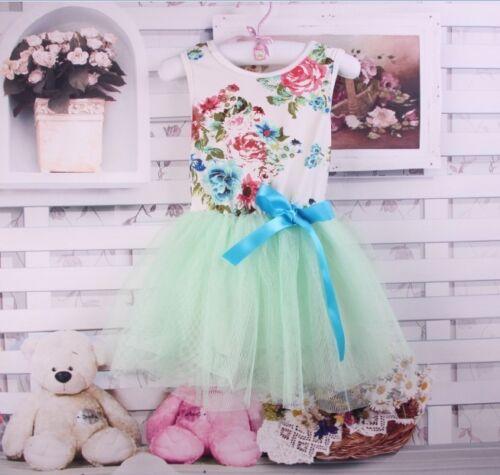New Girls Toddler Floral Tutu Tulle Party Wedding Dress 12-24m Princess Baby UK