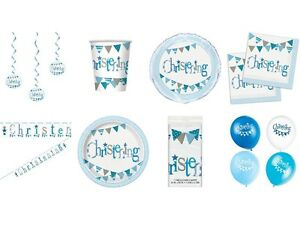 BLUE-BUNTING-CHRISTENING-Boy-Party-Range-Tableware-Balloons-amp-Decorations-UQ