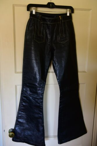 leather pants custom made lined bell bottoms zippe