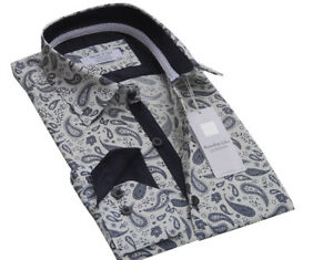 Men-s-Pure-Cotton-White-Paisley-Designer-Shirt-Size-S-to-3XL-Formal-Casual