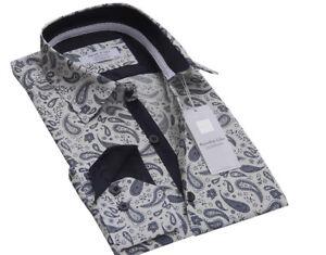 Men-039-s-Paisley-Blanco-Puro-Algodon-Disenador-Camisa-Tamano-S-a-3XL-Formal-Informal