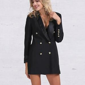 Womens Gold Button Suit Jacket Double Breasted Suit Blazer Jacket