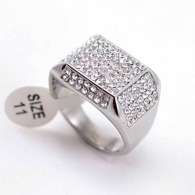 Stainless Steel Silver Tone Micropave CZ Iced Out Bling Ring Size7-13 Bling