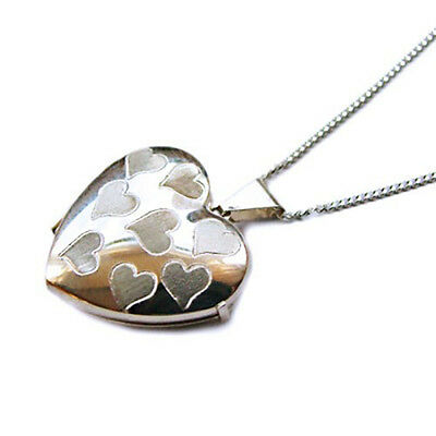 """925 Sterling Silver Engraved LOVE HEART Photo Locket on 16/"""" Silver Curb Chain"""