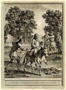Lafontaine-Fable-Le-meunier-son-fils-et-l-039-ane-Jean-Baptiste-Oudry-gravure