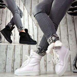 WARM-GEFUTTERT-LuXus-Designer-Sportschuhe-Plateau-Sneaker-Turnschuhe-Damenschuhe
