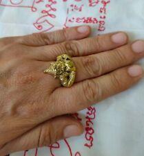 Ring Leklai Mekkapas LP.Oim Buddha Talisman Brass Yant Thai amulet Size 7