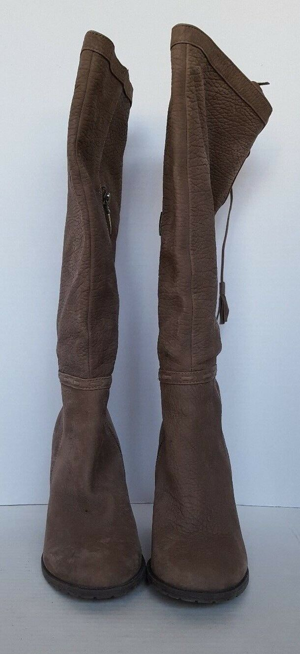 ADAM TUCKER WOMEN'S KNEE HIGH LEATHER BOOTS BROWN SIZE 7