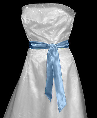 BABY BLUE Satin Wedding Fancy Dress Party Sash Tie Belt Tie Band Bridesmaid Bow