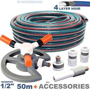 """1/2"""" 50m 4-layer TUBO Forte Set da giardino tubo rinforzato + Set Sprinkler"""