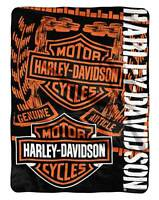 Harley-davidson Gear Bar & Shield Raschel Throw Blanket, Black & Orange Nw047129