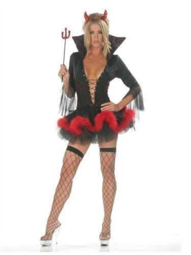 Fork Ladies Halloween Red Black Devil Vampire Fancy Dress Costume Horn