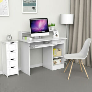 Uk Adjustable 1 Drawer Shelf Computer Desk Keyboard Mdf Pc Table Black White Ebay