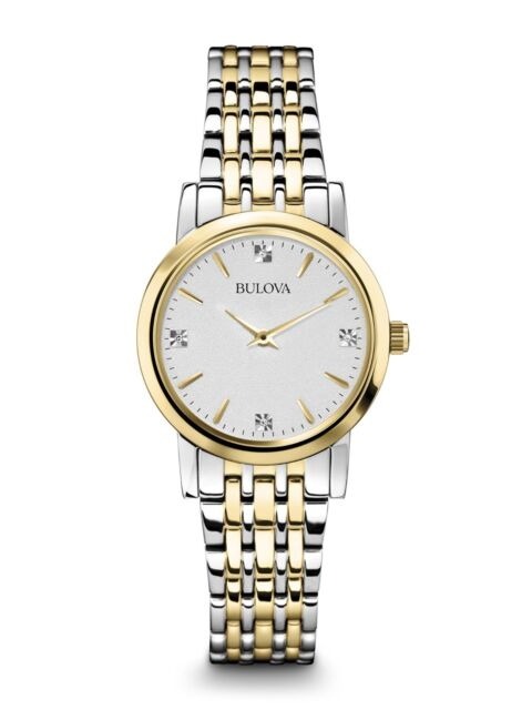 Bulova Women's 98P115 Quartz Diamonds White Dial Two-Tone Bracelet 27mm Watch
