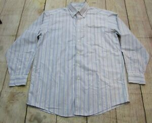 bd6ca22f21 NICE L.L. Bean Blue White Striped Button-Up Cotton Dress Shirt Men's ...