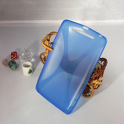 TPU Soft Gel X-Line Back snap Cover Case for Blue/Clear Google nexus 7 Tab