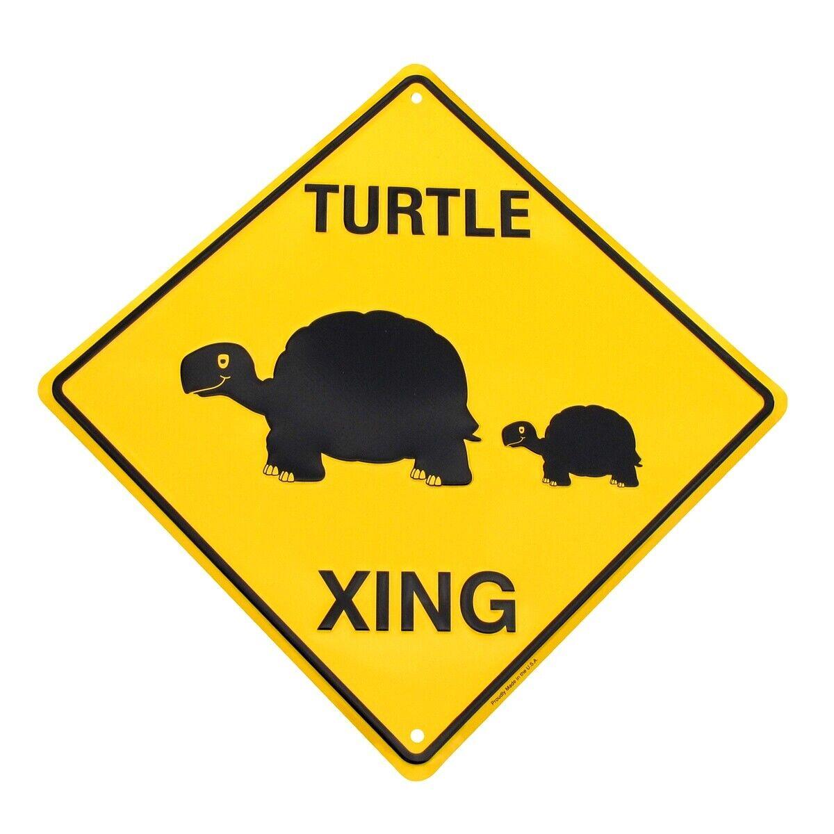 Caution Slow Turtle Crossing Funny Tin Metal Hwy Sign Yard Garden Decor Lawn Art