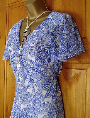 NEW M&S PER UNA LADIES VINTAGE 50s STYLE FLORAL BLUE WHITE SUMMER TEA DRESS