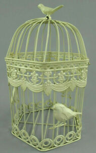 Antico Decorazione Gabbia per Uccelli IN Metallo Piante Fiori 6-eckig (G)