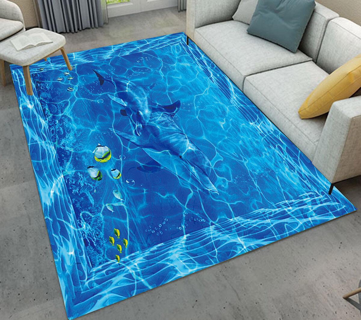 Blue Sea Water Fish Soft Carpet Kid Living Room Floor Mat Home Fashion Area Rug Ebay