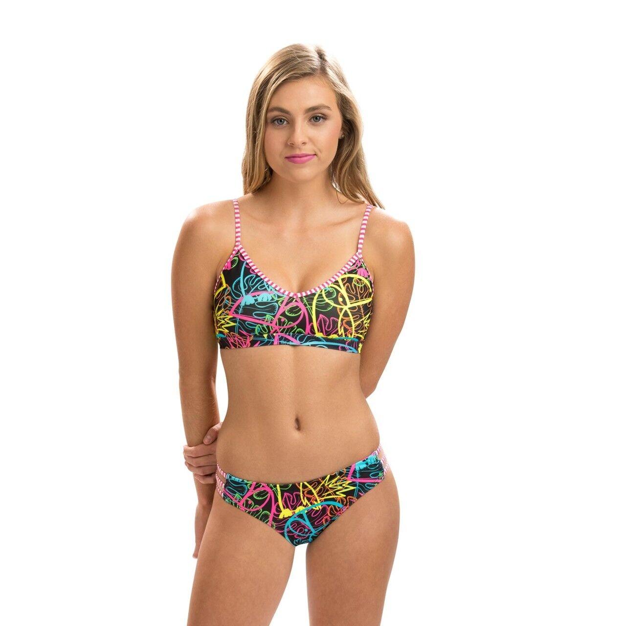 UGLIES Graffiti Jungle Strappy 2 Piece Swimsuit. Dolfin Uglies 2 Piece Swimsuits