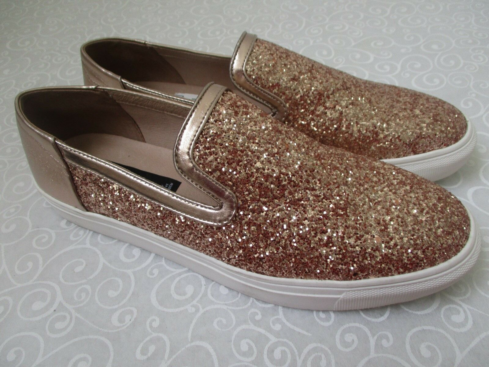 STEVEN BY STEVE MADDEN KENNER pink gold gold gold GLITTER FLATS SHOES SIZE 10 M - NEW ce2abf