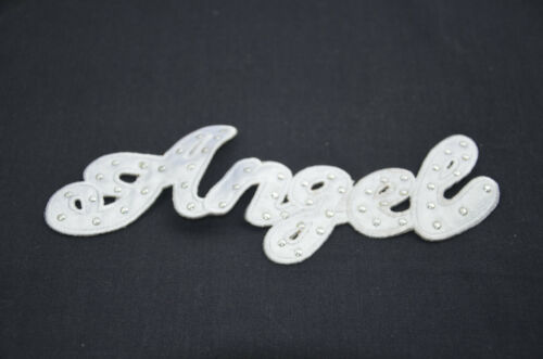 ANGEL WHITE STUDS STUDDED  7/' 18cm SEW IRON ON  PATCH BADGE EMBROIDERY APPLIQUE