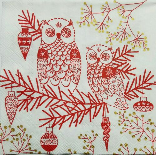 OWLS RED /& WHITE  4 single COCKTAIL SIZE paper napkins for decoupage 3-ply ihr