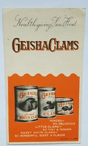 Vintage-Advertisement-034-Clams-and-Recipes-034-Geisha-Brand-Pamphlet-Cookbook-A11