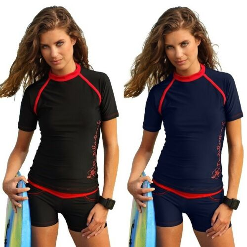 Ladies Rash Vest Top and Bottom Women Rash Guard Surfing Set Black Surf Wear