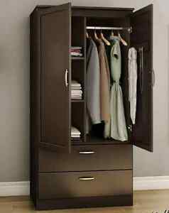 Details about Armoire Wardrobe Bedroom Closet Storage Garment Organizer  Wood Clothes Cabinet