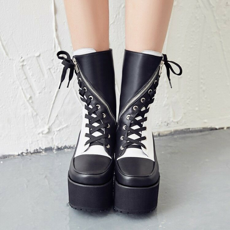 Women Fashion Gothic shoes Platform Wedge High Heel Creepers Ankle Punk Boot New