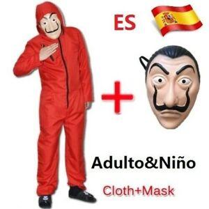 Salvador Dali La Casa De Papel Dinero Heist Máscara de traje rojo Cosplay Niño A