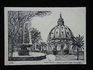 ROMA-GIARDINI-VATICANI-VATICAN-039-S-GARDENS-AND-ST-PETER-039-S-DOME-POSTCARD