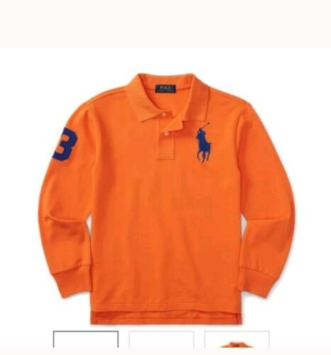 NWT POLO RALPH LAUREN BOYS LONG SLEEVE BIG PONY POLO SHIRT BEDFORD ORANGE