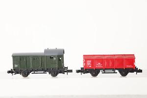 Escala-N-Vagon-Acompanamiento-Tren-de-Mercancias-y-Arnold-Estacion-Rojo