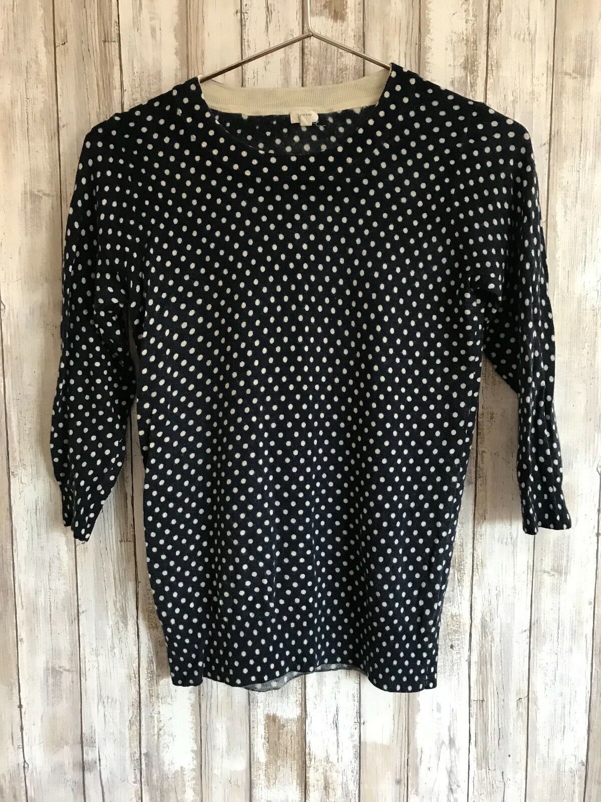 J.Crew Charley Merino Wool Polka Dot Navy bluee White Sweater S Small