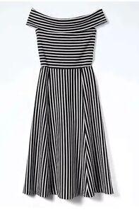 3bc263a26402 NWT Banana Republic Black   White Stripe Off-Shoulder Midi Dress In ...
