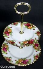 OLD COUNTRY ROSES 2-TIER CAKE STAND, GC, 1962-02, MADE IN ENGLAND, ROYAL ALBERT