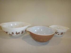 Vintage Pyrex Nesting Bowls Federal Eagle Set of 3