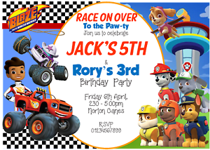 Paw Patrol and Blaze girl or joint Personalised invitations boy