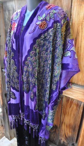 en de paon pourpre de velours d'épilation de de main kimono le Art Os de porter par épuisement soie perlé qw7W8a
