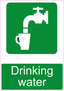 Drinking water sign label sticker 300 x 210 A4 caution ...